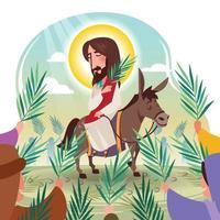 concept de dessin animé de dimanche des palmiers vecteur