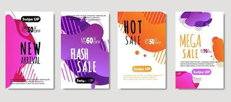 mobile fluide abstrait dynamique pour les bannières de vente. conception de modèle de bannière de vente, ensemble d'offre spéciale de méga vente, conception de flyer, carte-cadeau, affiche sur le mur, livre de couverture, bannière, médias sociaux vecteur
