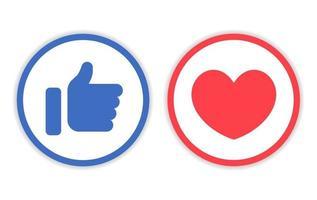 icône comme et amour avec ligne de cercle vecteur