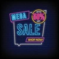 méga vente vecteur de texte de style enseignes au néon