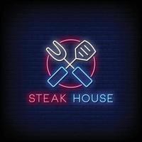 steak house logo enseignes au néon style texte vecteur