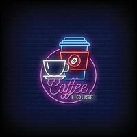 café logo enseignes au néon style texte vecteur