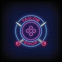 tailleur logo boutique au néon style texte vecteur