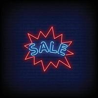 vente au néon style vecteur de texte