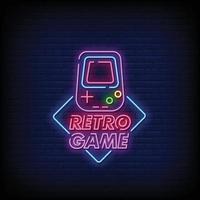 conception de jeu rétro vecteur de texte de style néon