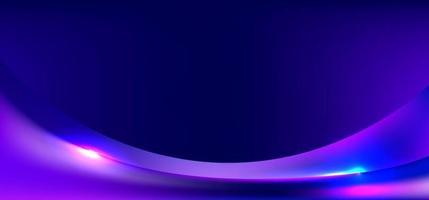 bannière web modèle dégradé bleu et violet forme incurvée avec fond d & # 39; éclairage vecteur