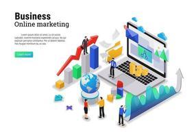 concept de marketing numérique avec caractère pour page de destination de site Web et modèle mobile vecteur