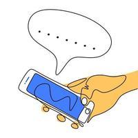 dessin continu d'une ligne d'une main humaine tenant un smartphone. un téléphone à écran tactile de la main et discuter avec une bulle de dialogue vide isolé sur fond blanc. conception de minimalisme. illustration vectorielle vecteur