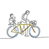 un dessin au trait continu d'un père poussant le vélo avec le fils assis sur le siège arrière à la campagne ensemble. l'enfant et le père profitent de l'heure d'été. thème parental de vecteur