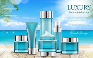 bannière modifiable de publicité cosmétique réaliste avec le thème de l'été vecteur