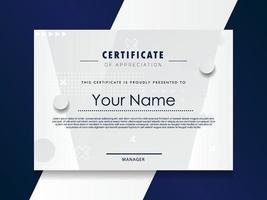 modèle de certificat d'appréciation conception géométrique tendance. vecteur