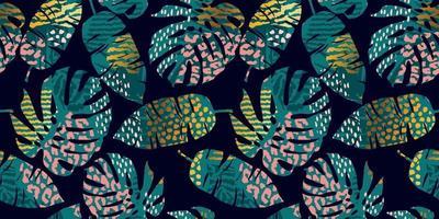 modèle sans couture tropical avec des feuilles abstraites. Design moderne vecteur