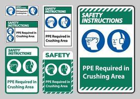 Consignes de sécurité signe ppe requis dans la zone de concassage isoler sur fond blanc vecteur