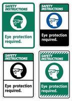 Consignes de sécurité signe protection des yeux symbole requis isoler sur fond blanc vecteur