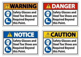 des lunettes de sécurité et des chaussures à bout en acier sont nécessaires au-delà de ce point