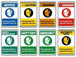 protection auditive requise dans cette zone avec le symbole vecteur