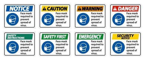 Masque facial requis pour empêcher la propagation du signe de virus sur fond blanc vecteur