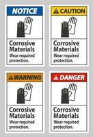 matériaux corrosifs, protection requise contre l'usure vecteur
