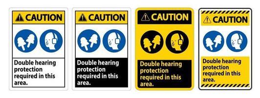 panneau d'avertissement double protection auditive requise dans cette zone avec des casques antibruit et des bouchons d'oreille vecteur