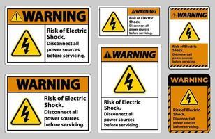Risque d'avertissement de signe de symbole de choc électrique isoler sur fond blanc