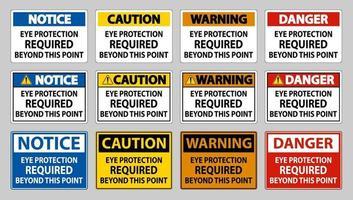 protection oculaire requise au-delà de ce point sur fond blanc