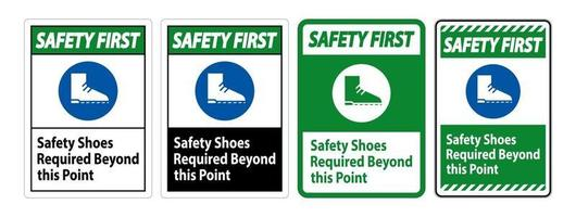 Safety First Sign chaussures de sécurité requises au-delà de ce point vecteur