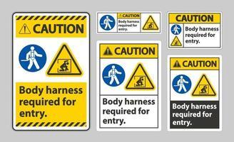 panneau d'avertissement harnais de corps requis pour l'entrée vecteur