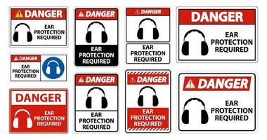 Protection auditive de danger requis symbole signe isoler sur fond transparent, illustration vectorielle vecteur