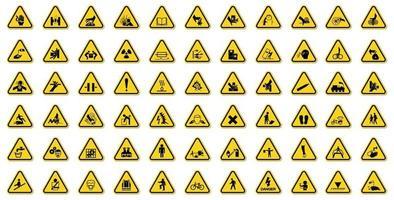 Les étiquettes de symboles de danger d'avertissement signent isoler sur fond blanc, illustration vectorielle