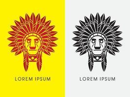 Tête de chef indien amérindien vecteur