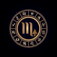 roue du zodiaque de luxe scorpion douze vecteur