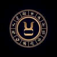 Roue du zodiaque de luxe taurus douze vecteur