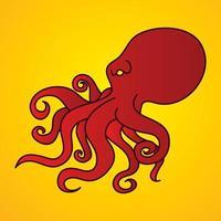 vecteur graphique de dessin animé de poulpe rouge