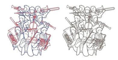 groupe d & # 39; orchestre de musiciens contour vecteur
