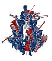 groupe d'orchestre de musiciens vecteur