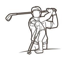 action sportive de joueurs de golf vecteur