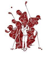 groupe d'action de golfeur vecteur