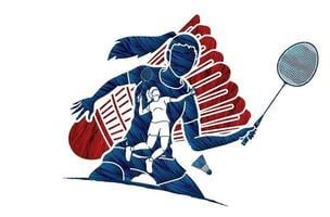 action de joueurs féminins de badminton vecteur