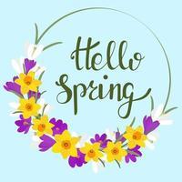 cadre circulaire avec des fleurs de printemps et du texte. vecteur