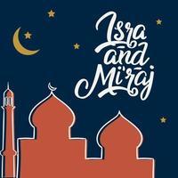 al-isra wal mi'raj avec illustration vectorielle de mosquée vecteur
