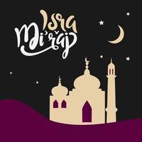al-isra wal mi'raj avec illustration vectorielle de mosquée dans le désert vecteur