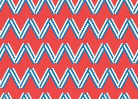 motif en zigzag dessiné à la main, rouge, bleu, blanc