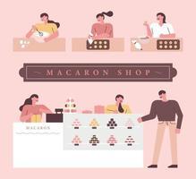 boutique de macarons sertie de gens vecteur