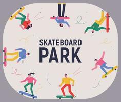 les gens qui font de la planche à roulettes dans un skate park. vecteur