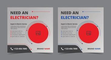 besoin d'une affiche d'électricien, d'une publication et d'un dépliant sur les réseaux sociaux d'électricien vecteur