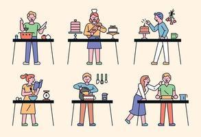 ensemble de personnes faisant des gâteaux vecteur
