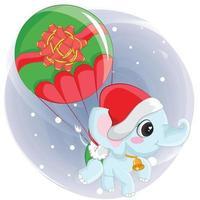 éléphant mignon volant sur un ballon de Noël. élément graphique pour le jour de noël