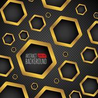 Fond noir et or avec trous hexagonaux vecteur