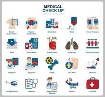 Ensemble d'icônes de contrôle médical pour site Web, document, conception d'affiche, impression, application. style plat d'icône de concept de soins de santé. vecteur