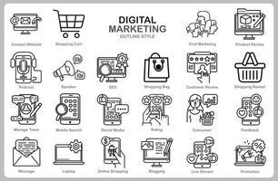 jeu d'icônes de marketing numérique pour site Web, document, conception d'affiche, impression, application. style de contour d'icône de concept de marketing numérique. vecteur